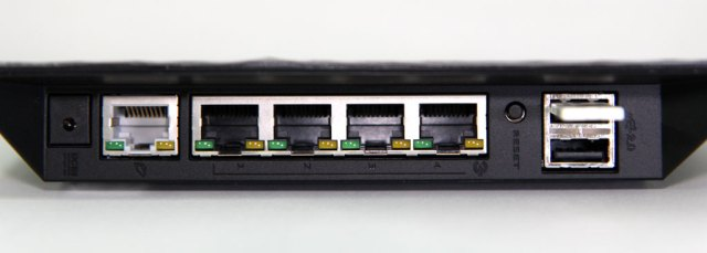 photo of ASUS router ports, with a USB stick connected