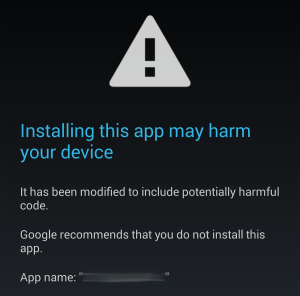 screenshot of malicious app install warning