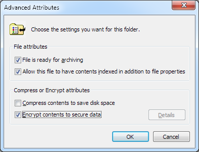 NTFS encryption attribute