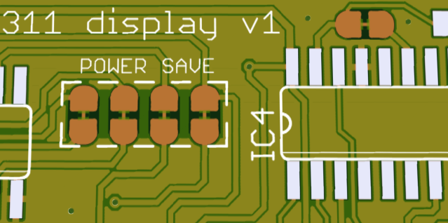 Rendering of PCB near the power save solder jumpers