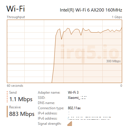Task Manager screenshot, showing the connection speed graph